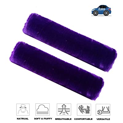 Fochutech 2Pcs Car Soft Plush Seat Belt Shoulder Pad Strap Cover Adjuster Protector Comfortable Driving (Purple): Automotive