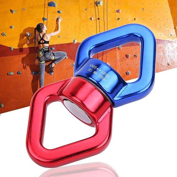 Conector fijo de escalada de roca de 30 KN de aleación de aluminio con anillo de conexión giratorio de seguridad para escalada al aire libre, yoga, ...