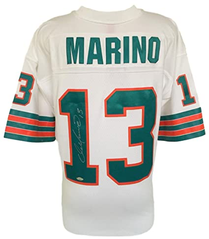pretty nice 536fc 086de Dan Marino Signed Miami Dolphins White Replica Mitchell ...