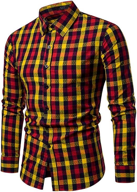 Camisas para Hombres, Camisa a Cuadros de Lujo para Hombre Camisa de Manga Larga Slim Fit