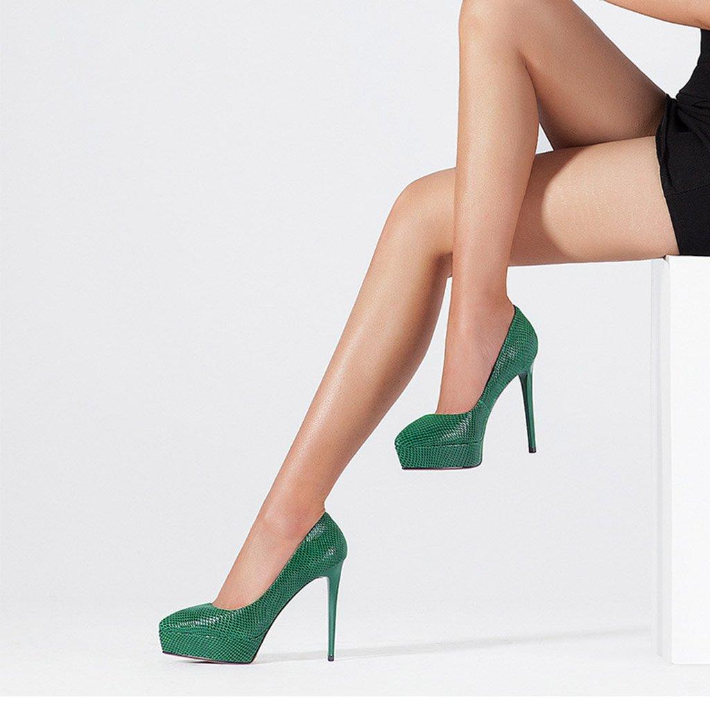JIANXIN Frauen Frühjahr Und Sommer Flacher Mund Mund Mund Single-Schuh-Leder-Spitze Wasserdichte Plattform Heels Und Dicke Schuhe. (Farbe   Rosa größe   EU 35 US 5 UK 3 JP 22.5cm) 3d66fb