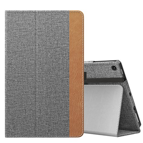 MoKo Case for All-New Amazon Fire HD 10 Tablet (7th Generation, 2017 Release) - Slim Folding Stand Cover with Auto Wake/Sleep for Fire HD 10.1 Inch Tablet, Jeans Gray