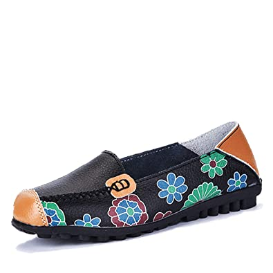 9c91d8d4af0 Women Casual Shoes Genuine Leather Boat Comfortable Soft Gommino Flat  Ventilation Fashion Printing Shoes Woman 4