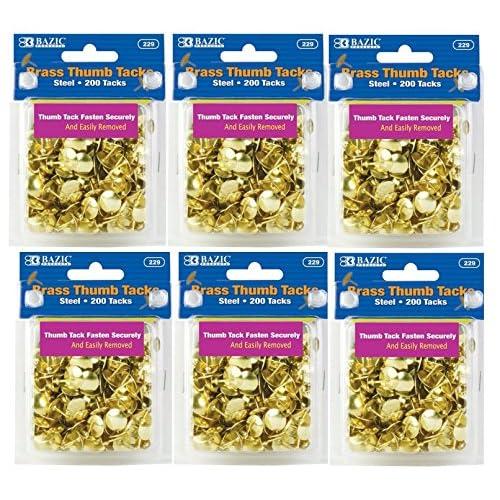 6 Pk, BAZIC Brass Thumb Tack 200 Per Pack(1200 in Total)