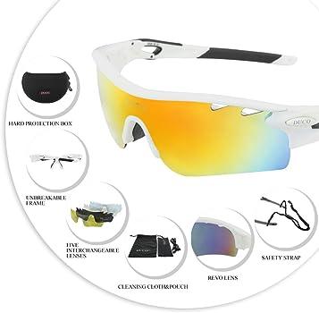 3edf636d1d Duco 0025 - Gafas de sol deportivas, polarizadas, para ciclismo, con 5  lentes intercambiables