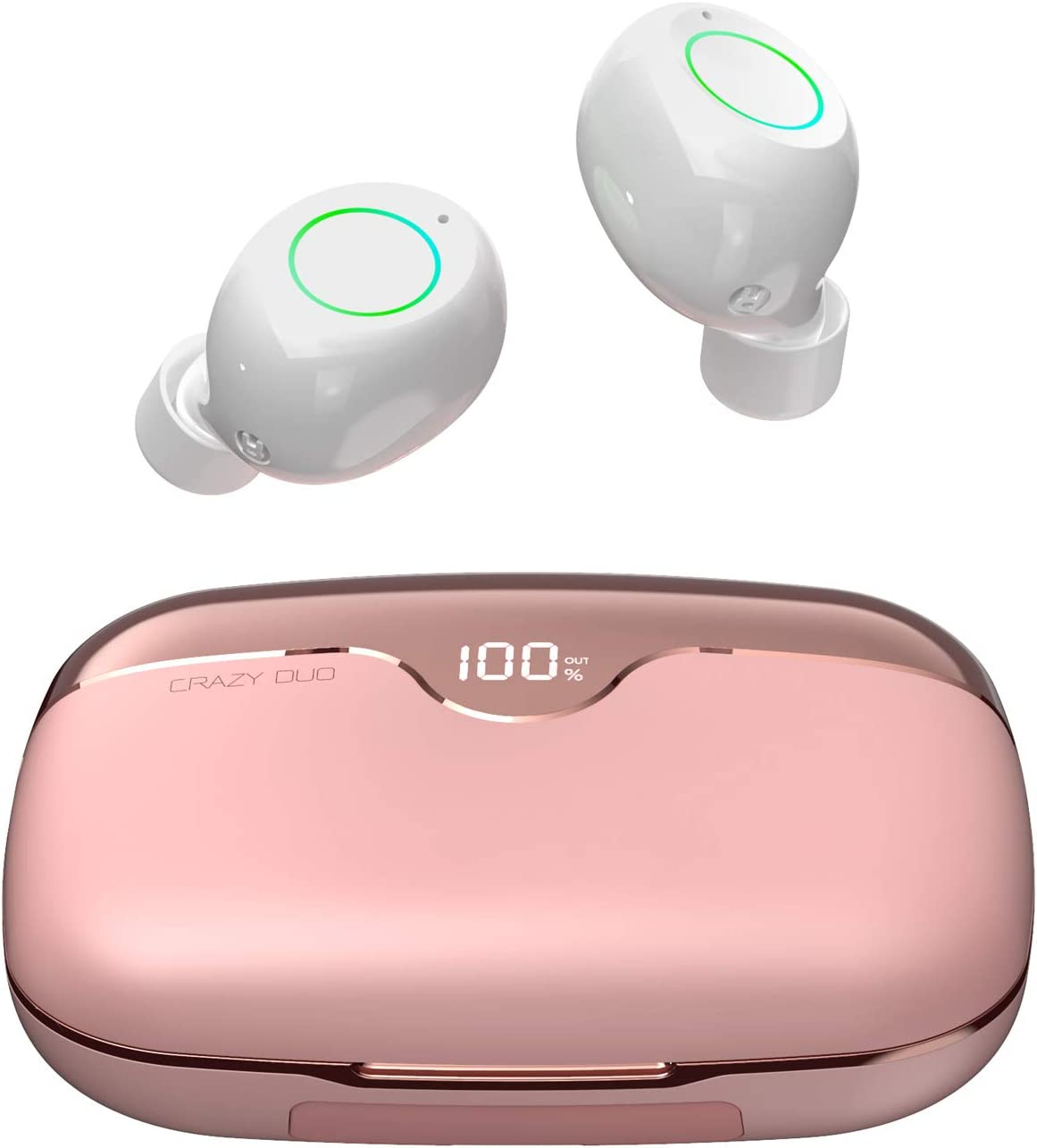 iWALK True Wireless Earbuds Bluetooth 5.0 with 2500mAh Charging Case, 80H Playtime Instant Pairing IPX5 Waterproof, Touch Control Wireless Earphones with Built-in Mic for iOS Android, Pink