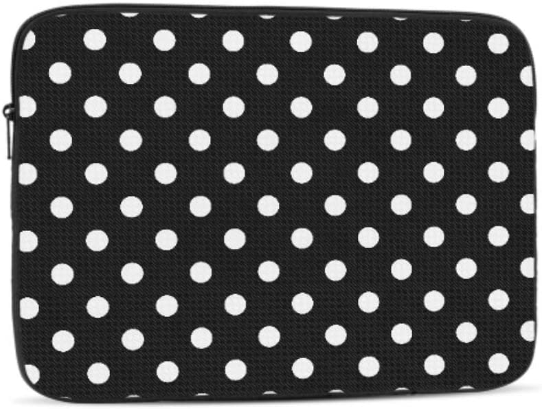 Simple White Polka Dots On Black Pattern Neoprene Sleeve Pouch Case Bag for 11.6 Inch Laptop Computer Designed to Fit Any Laptop//Notebook//ultrabook//MacBook with Display Size 11.6 Inches