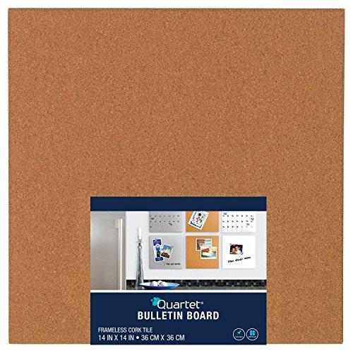 Quartet Frameless Modular Tile Bulletin Board, 14 x 14 Inches, Cork (48112) by Quartet