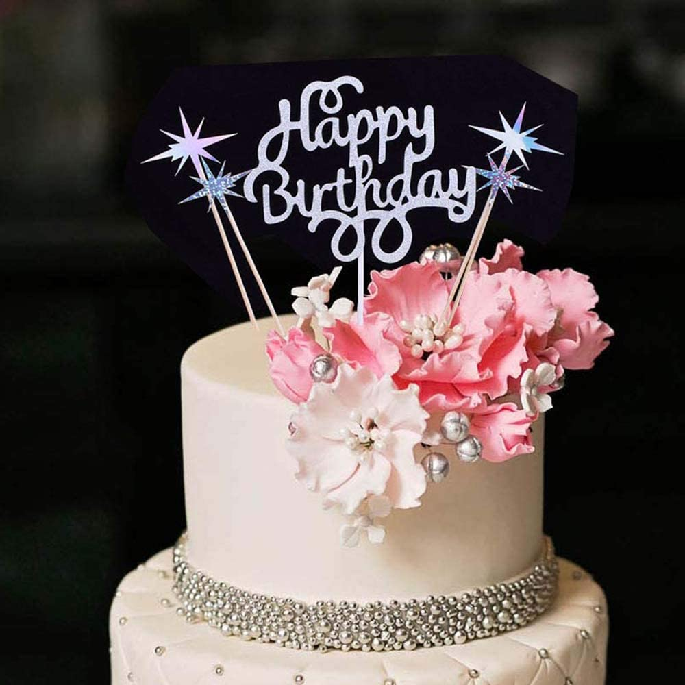 Astounding Amazon Com Yuinyo Silver Glitter Happy Birthday Cake Topper Funny Birthday Cards Online Drosicarndamsfinfo