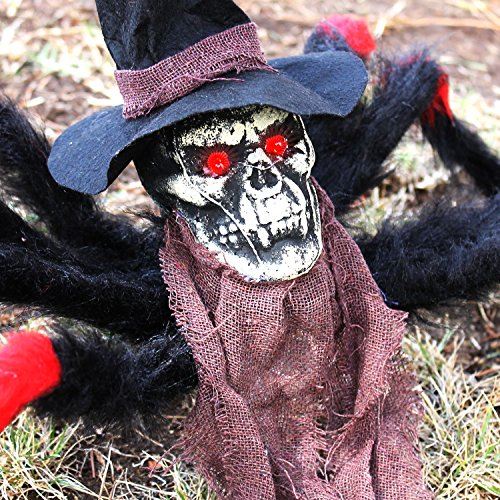 Halloween Haunters 32'' Scary Black & Red Fury Spider with Skull Head Body Prop Decoration - Creepy Flashing Red Eyes - Battery Operated by Halloween Haunters (Image #2)