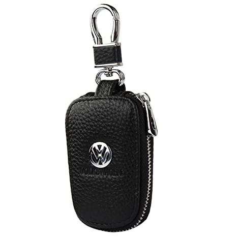 car Key Chain Keychain,Genuine Leather Car Smart Key caseKey Chain Keychain Holder Metal Hook and Keyring Zipper Bag for Remote Key Fob (Volkswagen)