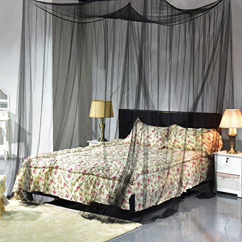 4 Corner Post Bed Canopy Mosquito Net Full Queen King Size Netting Black Bedding , prevent you from dropping down the floor protect you from biting by mosquitoes and files