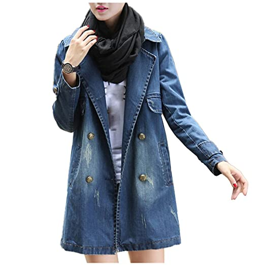 bc0f20d161d3c Transer Women Plus Size Double Breasted Lapel Collar Trench Long Sleeve Denim  Jacket Jean Coat Outwear