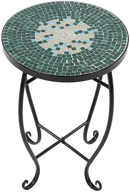 Zoternen Mesa de Metal con Mosaico,Mesa Redonda Decorativa para ...
