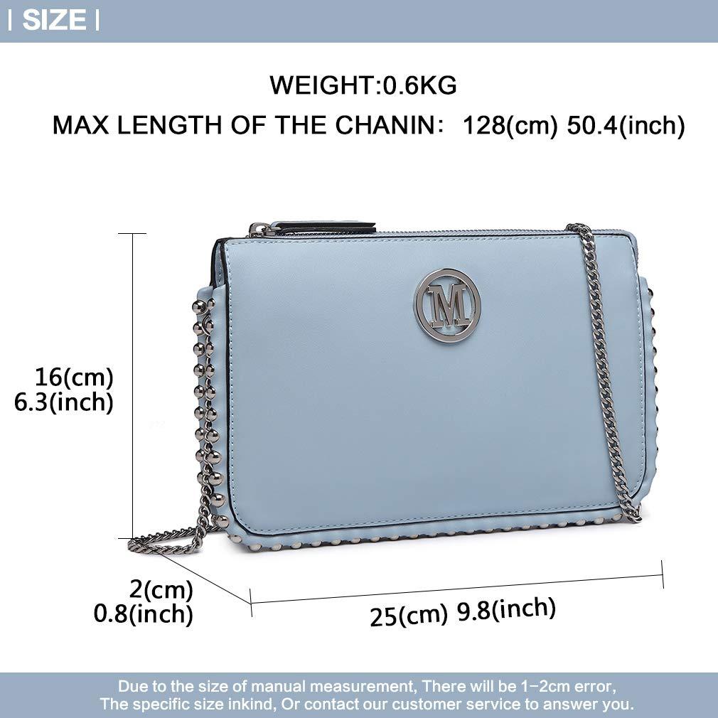 88e460180209d Miss Lulu Clutch LT6819 Handtasche Kettetasche M Modell Kleine Tasche  Modern Praktisch Damen Mädchen (Blau)  Amazon.de  Koffer