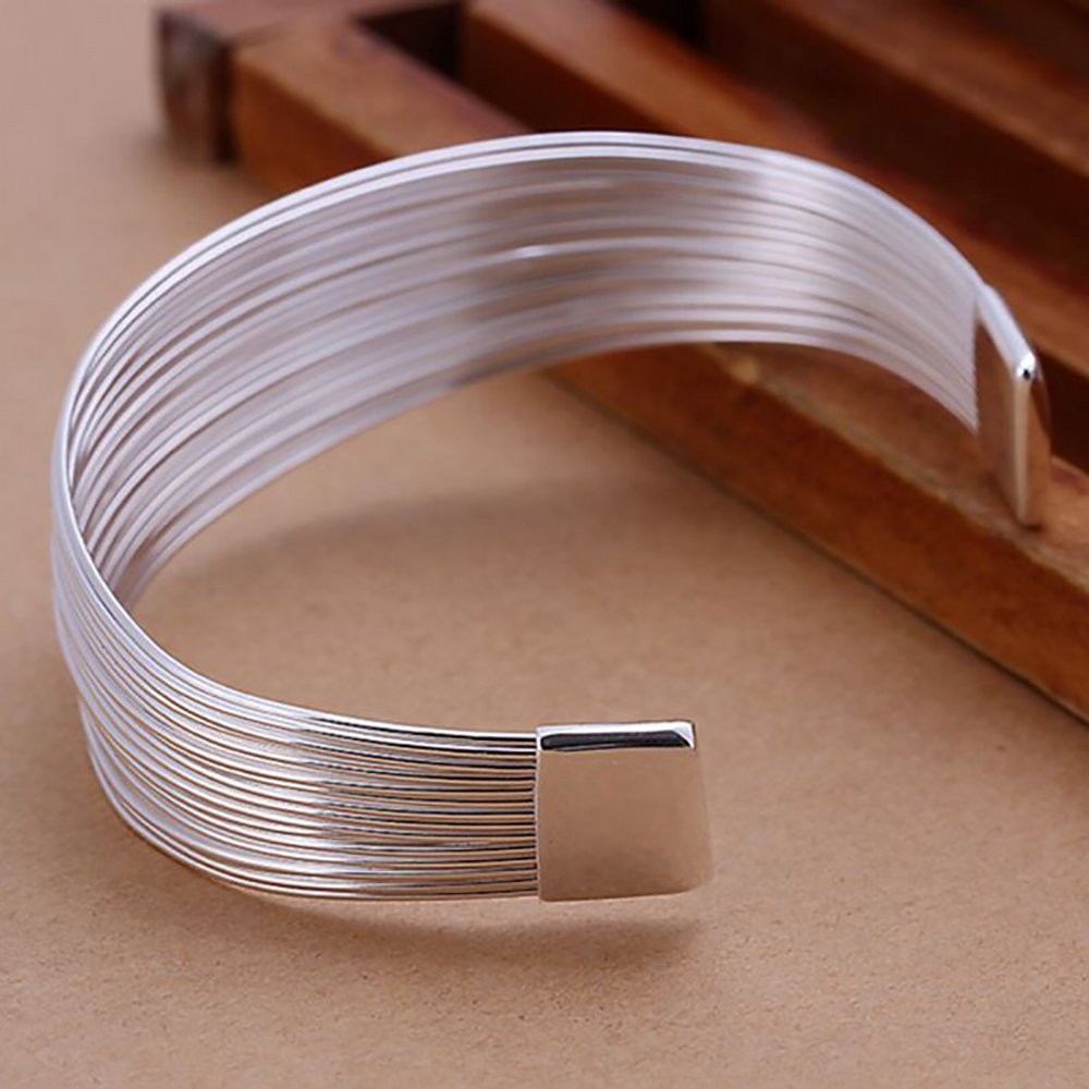 SIENNA693 Silver Plated Bangle Bracelets Multiple Line Bangle 925 Silver Jewelry Gift for BFF SU636