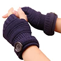 Chytaii Fingerless Gloves Fingerless Mitten Gloves Knitted Gloves Winter Warm Hand Wrist Warmer Gloves for Women Men