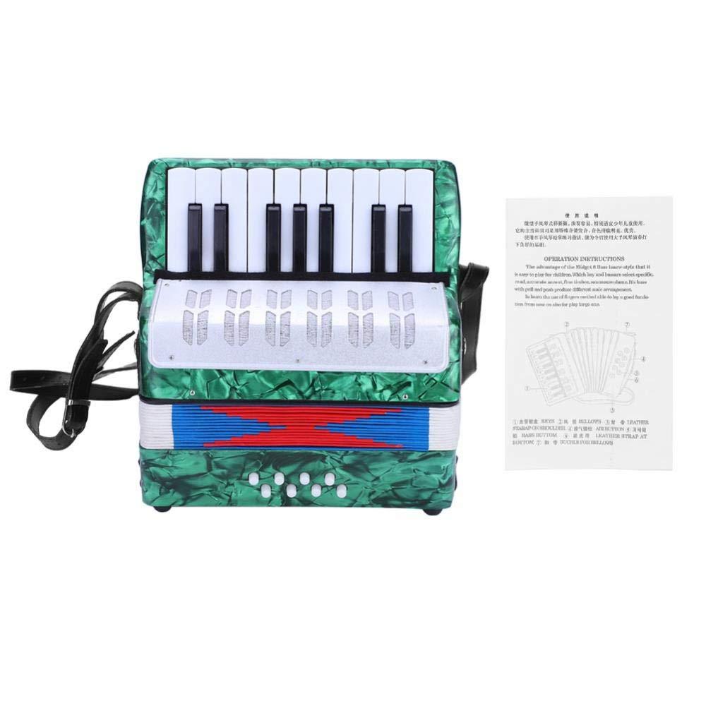 Children Accordion, Mini 17-Key 8 Bass Piano Accordion for Kids Children Amateur Beginner(Green)
