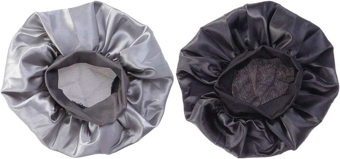 Lurrose 2pcs Sombrero de Gorro de Dormir de satén Banda Ancha Gorra de Noche Suave para Mujeres y Chicas(Negro + Plata)