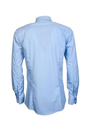 2865efecafade Hugo Boss Blue Plain Smart Shirt Long Sleeve 15 (38)  Amazon.co.uk  Clothing