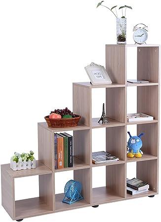 Librería de Madera con 10 Compartimentos Estantería para Libros Estantería en Forma de Escalera Estante de Exhibición Estanterías de Cubos para Sala de Estar y Dormitorio, 114 × 30 × 116 cm (Roble): Amazon.es: Hogar