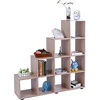 Librería de Madera con 10 Compartimentos Estantería para Libros Estantería en Forma de Escalera Estante de Exhibición Estanterías de Cubos para Sala de Estar y Dormitorio, 114 ×…