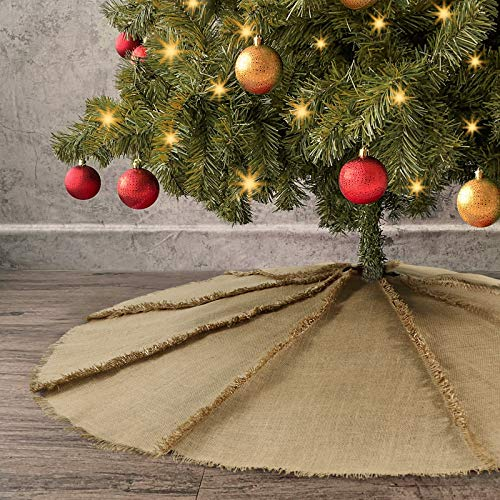 Ivenf Fringed Burlap Christmas Tree Skirt, 48 inches Reverse Seam Tree Dress with Tassel for Xmas Party Decorations Home Decor, Back Seam