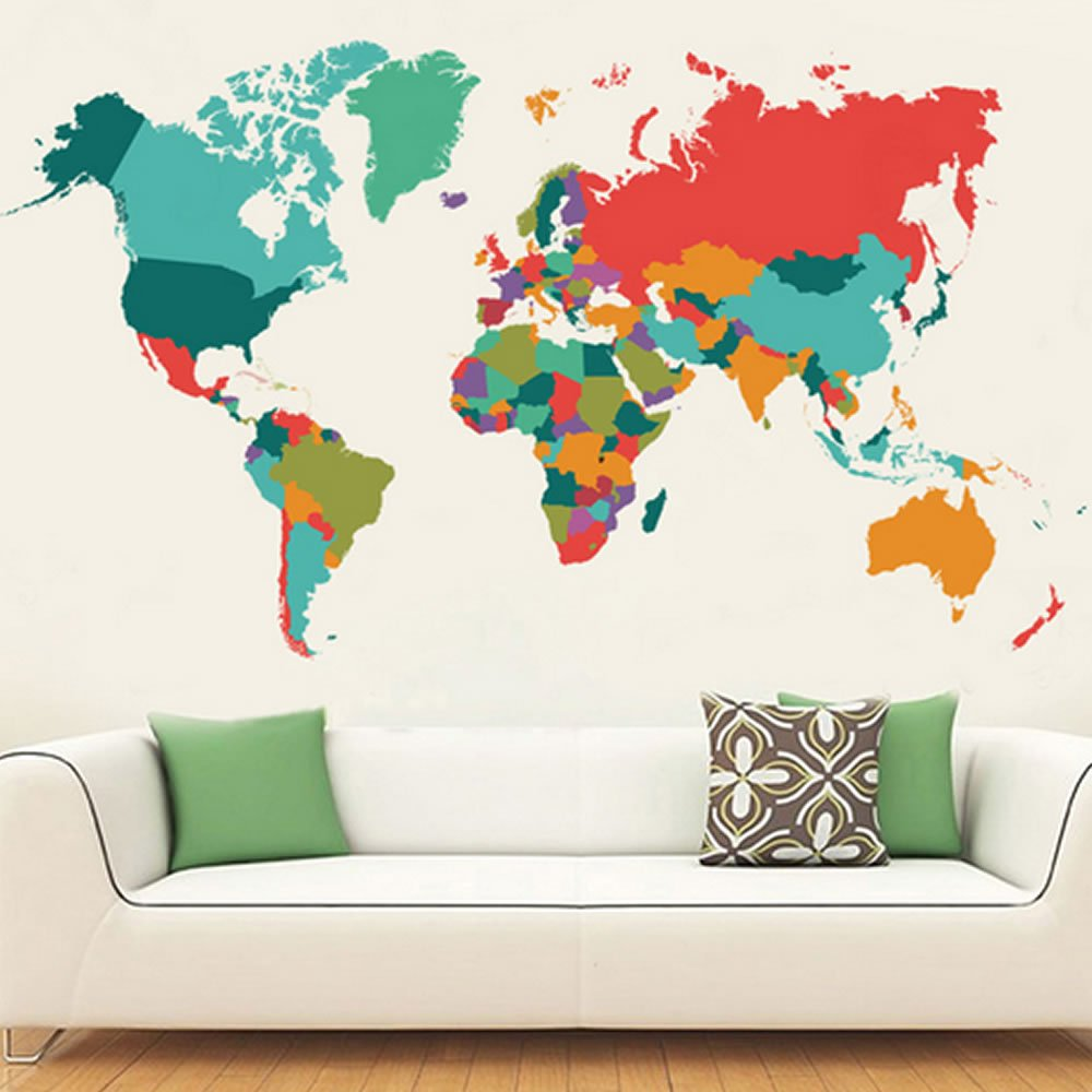 Wall World Map Wall Decal Sticker Coloful Map Art Home Decor Removable Patchwork Map Mural Large Size 42''x24''