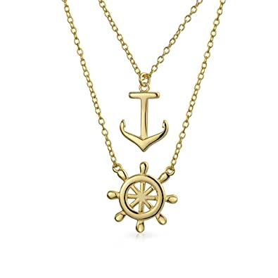 Bling Jewelry .925 Silver Nautical Ship Wheel Pendant Necklace fWcyM