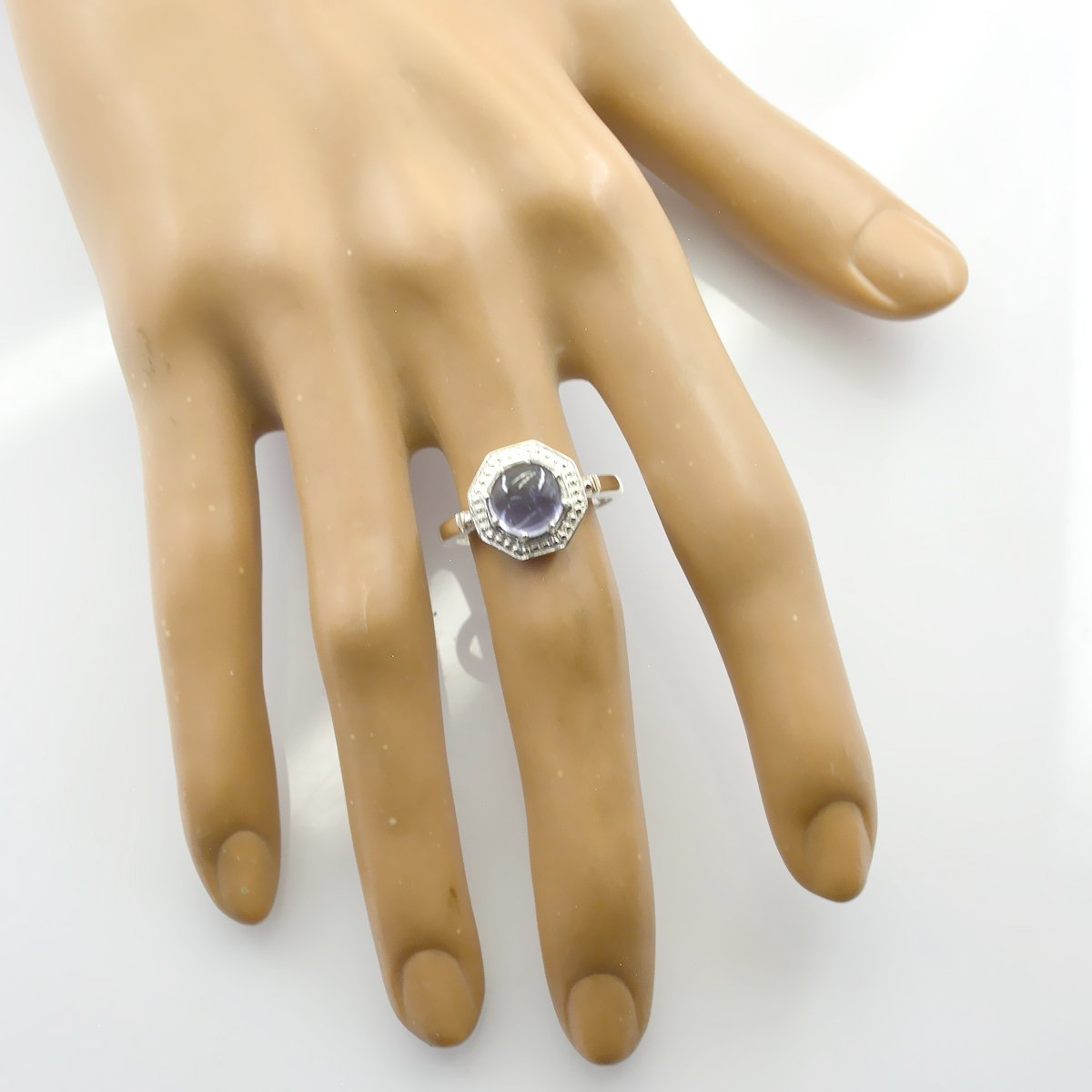 Most Jewellery Gift for Mothers Day top Ring Natural Gemstone Round cabochon Iolite Rings 925 Sterling Silver Blue Iolite Natural Gemstone Ring