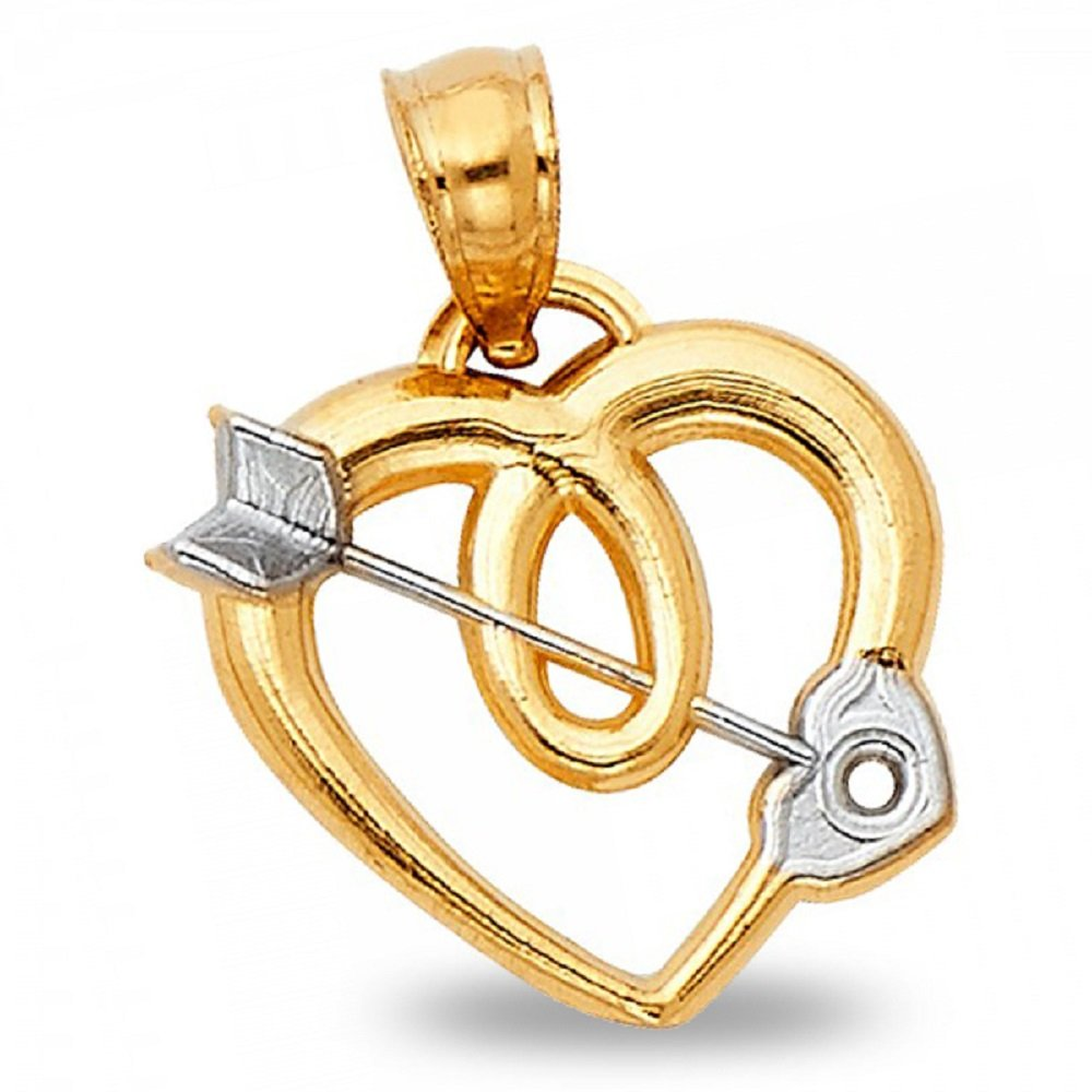Cupid Arrow Heart Pendant Solid 14k Yellow White Gold Love Charm Polished Fancy Two Tone 15 x 15 mm