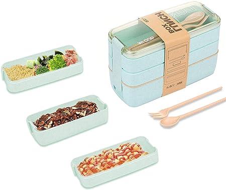 MEIXI Fiambrera Infantil Caja de Bento con 3 Capas de y Cubiertos Fiambreras Caja de Alimentos Ideal para Almuerzo y Bocadillos para Niños y Adultos (verde): Amazon.es: Hogar