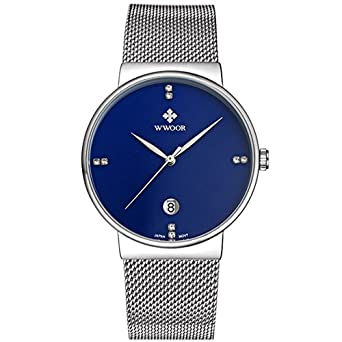 WWOOR Mens Ultra Thin Mesh Band Stainless Steel Watches Male Elite Sports Date Wrist Watch Blue