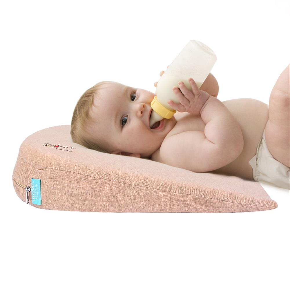 Anti-spill Newborn Baby Slow Rebound Memory Foam Bassinet Wedge Incline Pillow Removable Cover Colour Cotton|BPA Free Qutool