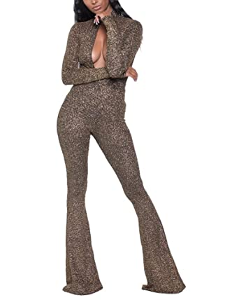 Amazon Com Ekaliy Women Sexy Sequin Wide Leg Club Jumpsuits Long
