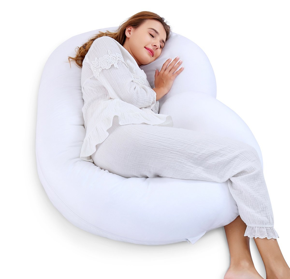 Marine Moon C-shaped Full Body Pregnancy/Maternity Pillow with Washable Cotton Cover, 59""