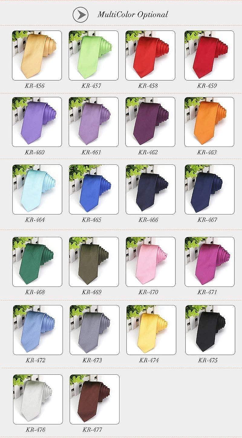 FidgetFidget Solid Tie Gift 10 Packs Mens Skinny Neck Ties Slim Suits Necktie Polyester Silk