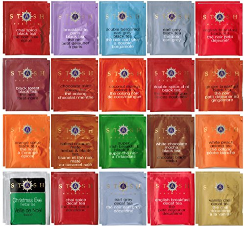 Stash Tea Bag & By The Cup Honey Stix Variety Sampler Including Black, Decaf & Oolong Teas - 40 Ct, 20 Flavor Assortment (Sampler Biscotti)