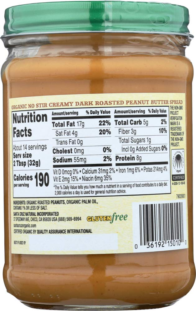 Amazon.com: Santa Cruz Organic (NOT A CASE) Dark Roasted Creamy Peanut Butter: Home & Kitchen
