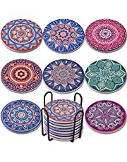 Newk Coasters for Drinks, 8 Set Ceramic Marble Absorbent Coasters with Metal Holder, 4 Inches 8 Different Mandala Patterns, Suitable for Wooden Table and Kinds of Cups