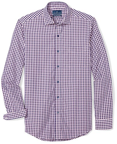 BUTTONED DOWN Men's Classic Fit Supima Cotton Spread-Collar Dress Casual Shirt, Navy/Berry Check, 17-17.5