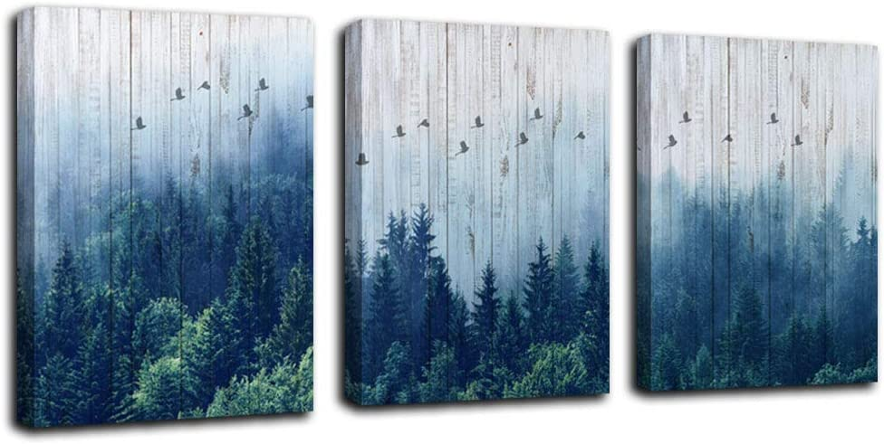 Mountain Forest Arjun Indigo Canvas Wall Art Misty Forests Bathroom Decor Modern Nature Fog Navy Blue Forest Kitchen Artwork Evergreen Coniferous Trees Landscape Painting 12
