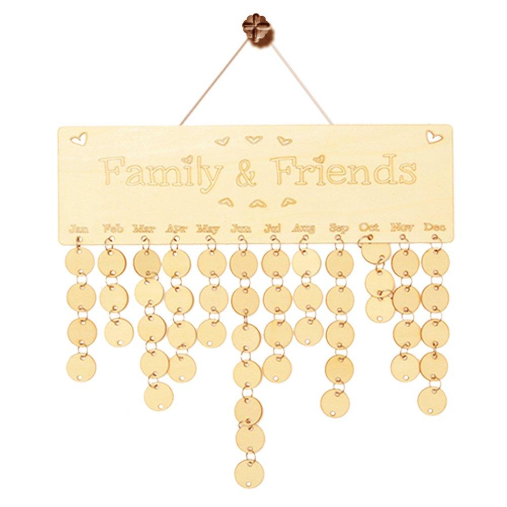 Amazon.com: Sundarling Wooden Family and Friends Birthday Calendar ...