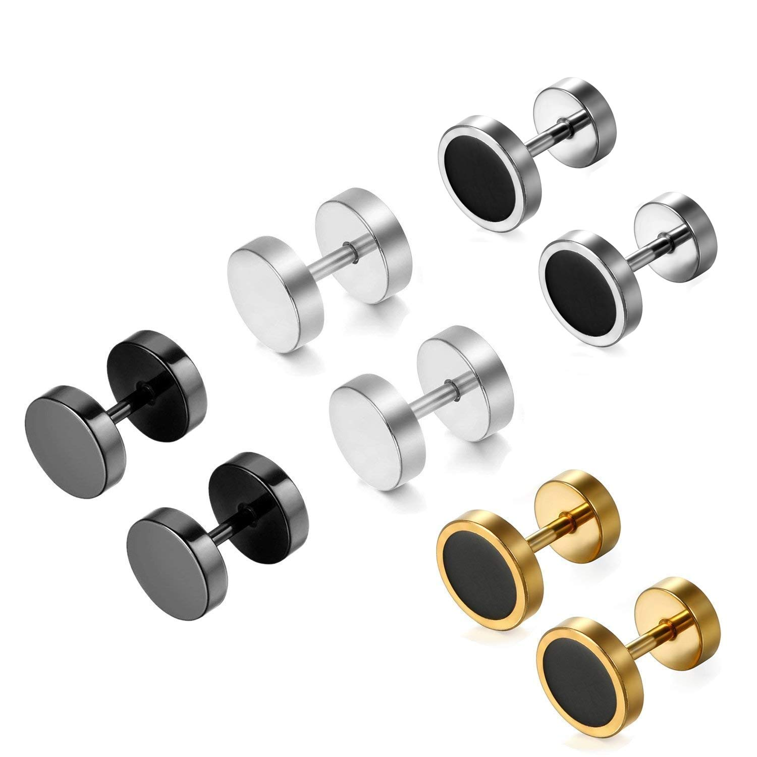 Aroncent 8 Pcs Stainless Steel Men Stud Earing Fake Ear Stretcher Plugs Earrings 8MM Screw Back