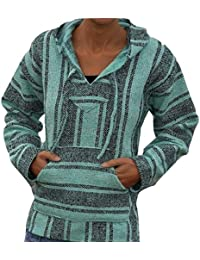 Baja Hoodie Sea Glass Green Mexican Poncho Pullover Drug Rug Jerga