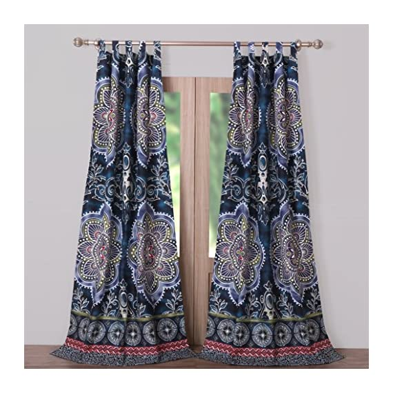 Barefoot Bungalow Twyla Midnight Window Panel Pair - Set includes two panels and two tiebacks. Component dimensions in inches (quantity): 42x84 (2)+ 3x24 (2) [All +/-2 inches] Imported - living-room-soft-furnishings, living-room, draperies-curtains-shades - 61IWYcUxy0L. SS570  -