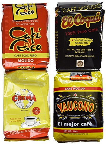 Puerto Rican Variety Pack Ground Coffee - 4 Local Favorites in 8 Ounces Bags (2 lbs Total) Includes two Envelopes of Sason Accent Seasoning
