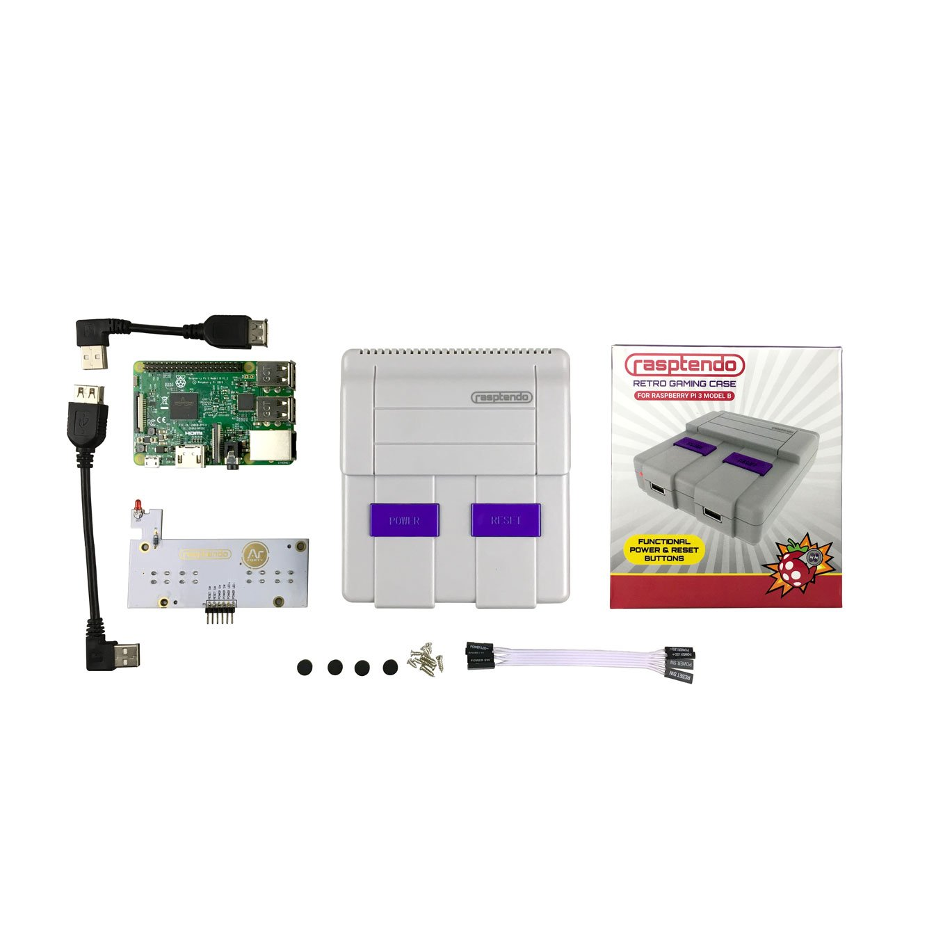 Rasptendo Retro Gaming Case For Raspberry Pi 3 Grey Nes Power On Wiring Computers Accessories