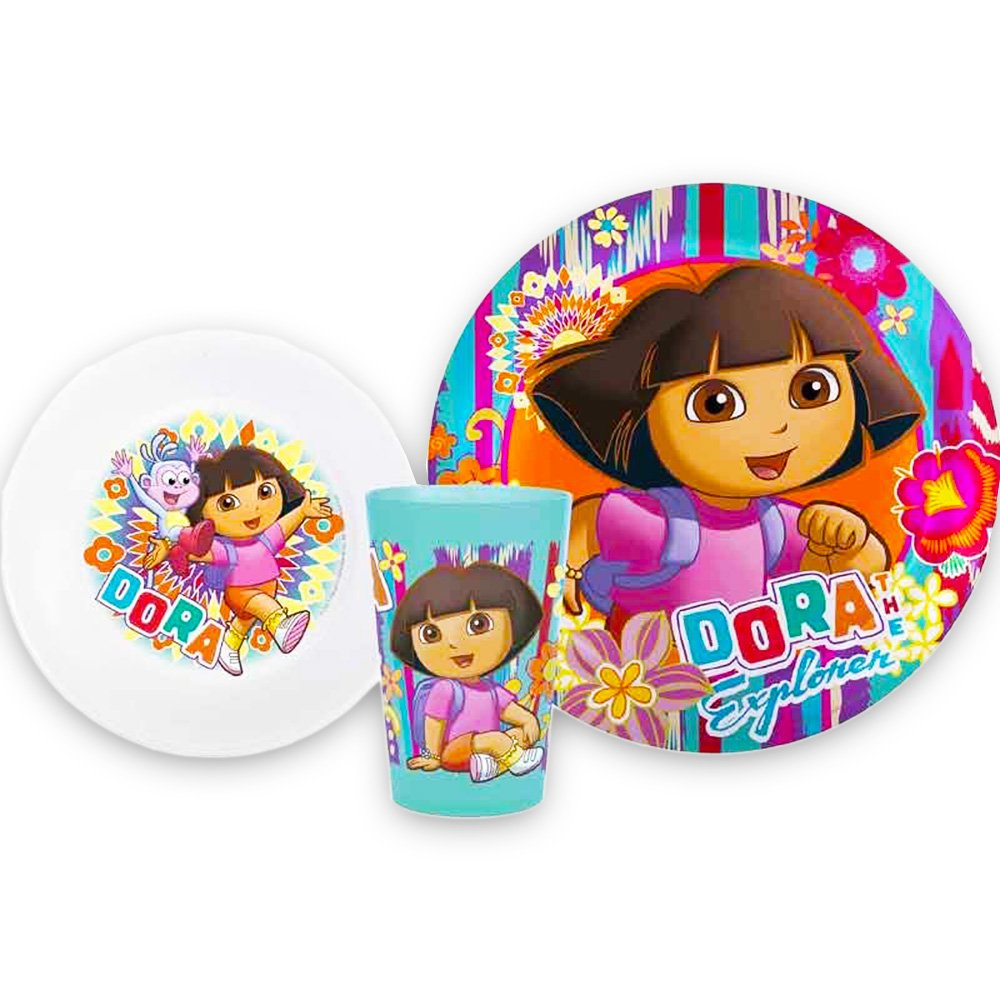 Dora the Explorer 3 Pc Mealtime Set Plate, Bowl, Tumbler Zak! DORX-0391