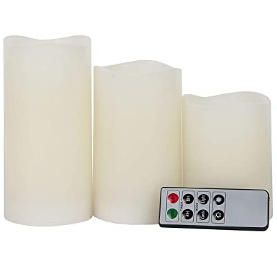 Lily's Home Everlasting Flameless LED Candles, with Remote and Timer, Set of 3 Candles (Ivory): Home Improvement
